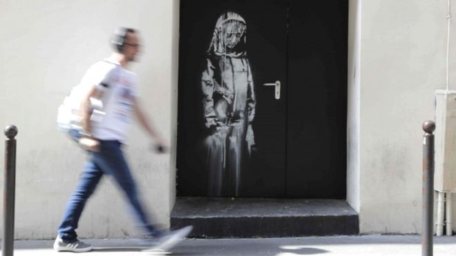 Photo of Banksy artwork stolen from the Bataclan in Paris is found in Italy