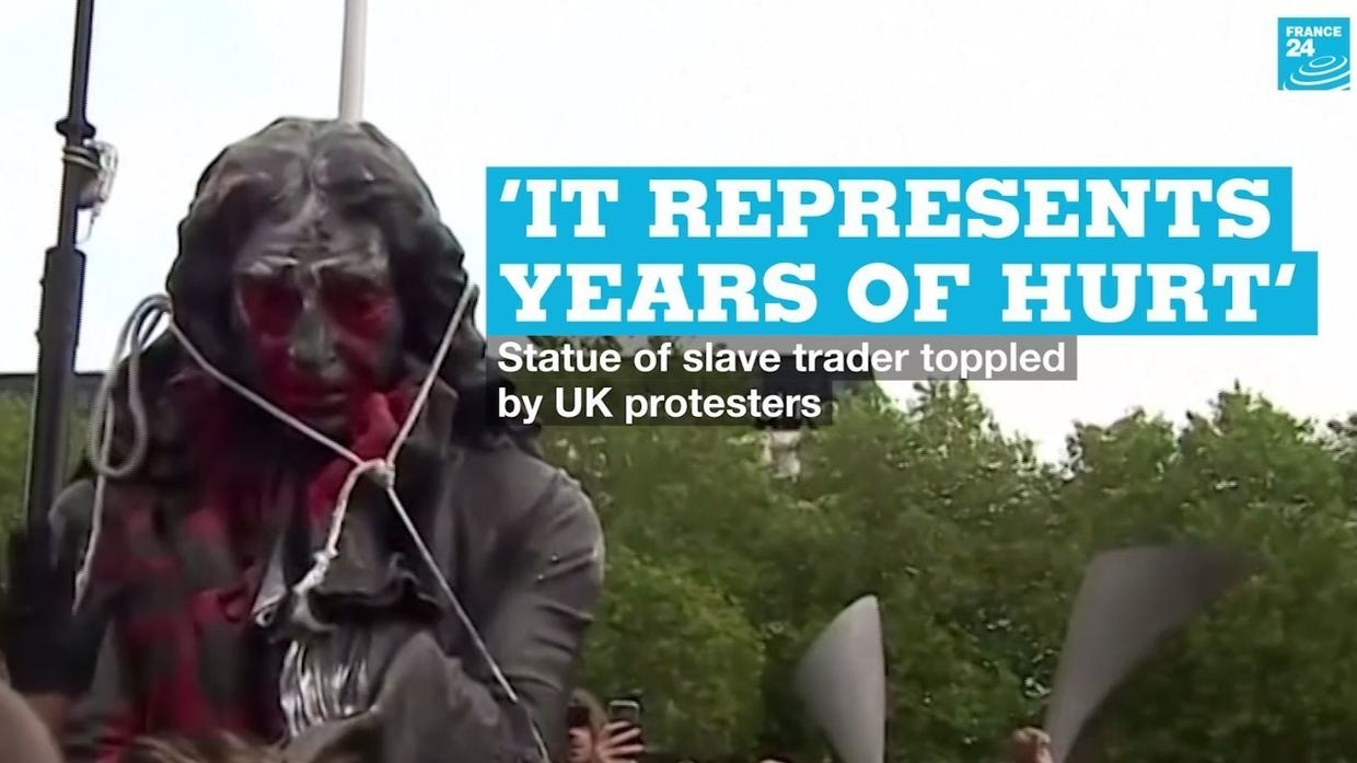 Photo of It represents years of hurt: Statue of slave trader toppled by UK protesters