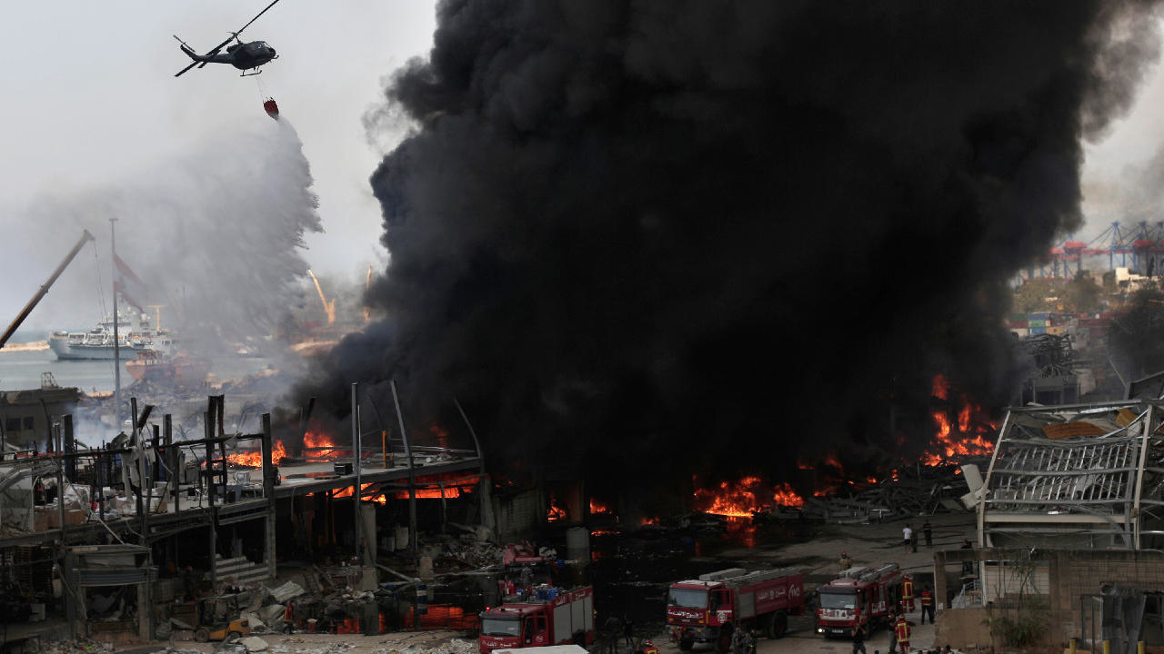 Photo of Huge fire breaks out at Beirut port one month after fatal explosion