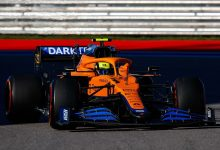 Photo of Lando Norris on pole position in Russian Grand Prix qualifying, as Lewis Hamilton spins
